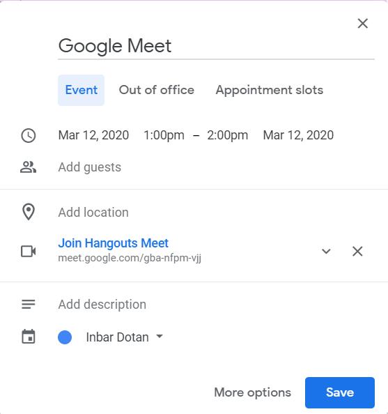 google meet calendar